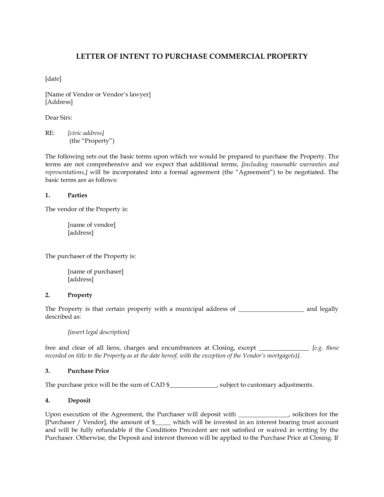 Commercial Lease Letter Of Intent Template - Mercial Real Estate Lease Letter Intent Template Purchase