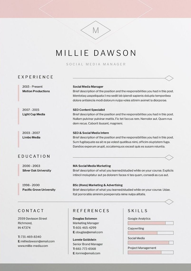 Indesign Cover Letter Template - Millie Resume Cv Template Word Shop