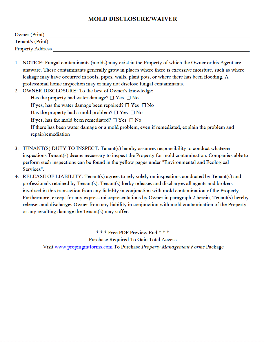 Landlord Property Inspection Letter Template - Mold Disclosure Waiver Pdf Property Management forms
