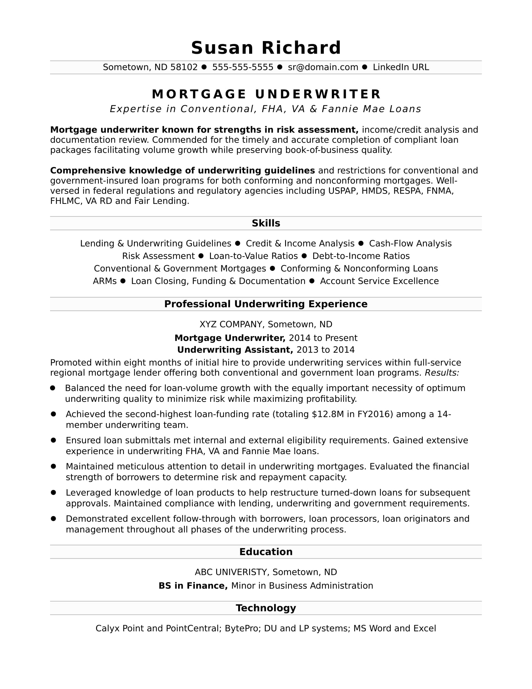 mortgage protection letter template example-Sample Resume for a Mortgage Underwriter 16-e