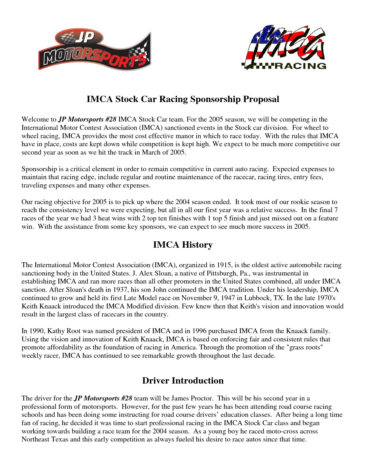 Sponsorship Proposal Letter Template - Motorsports Sponsorship Proposal Template