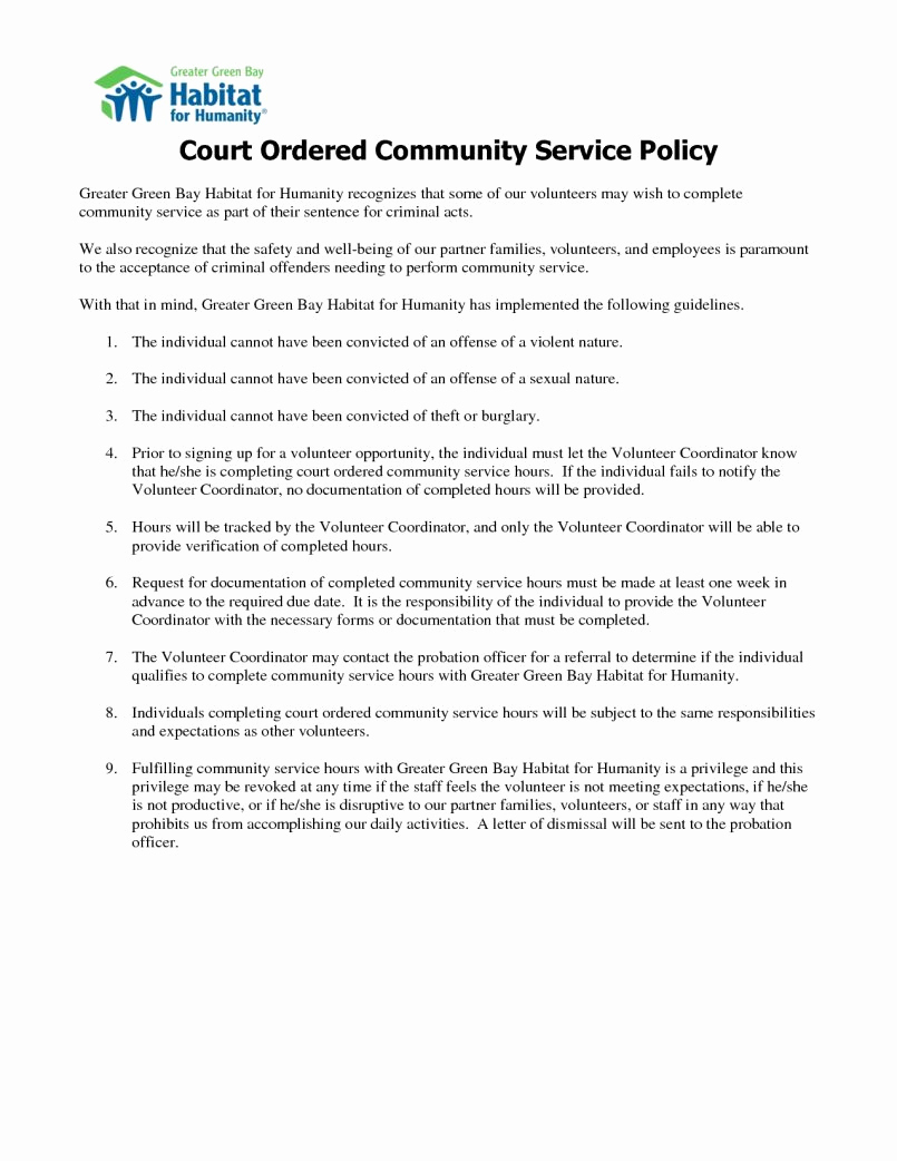 Court ordered Community Service Letter Template - Munity Service Letter Verification form Awesome Sample Job