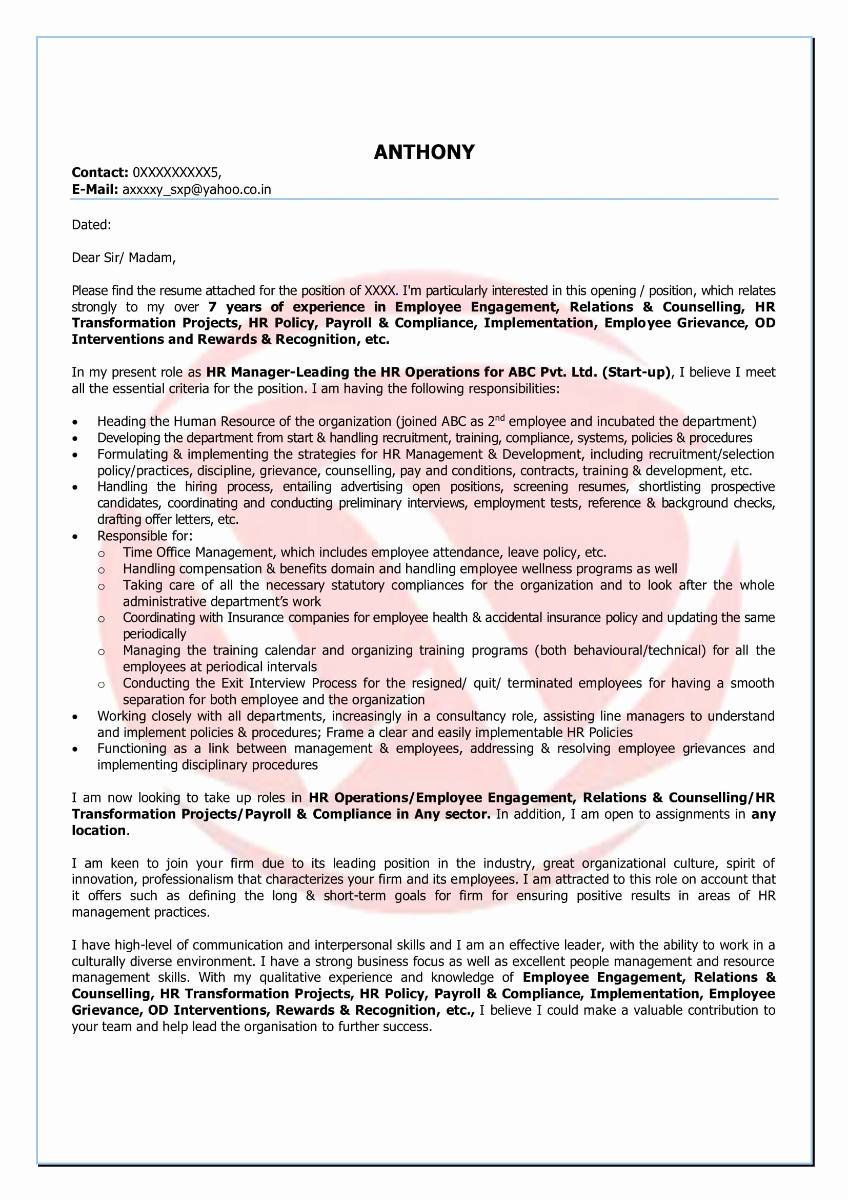 Manager Cover Letter Template - New Hr Manager Cover Letter Your Template Collection