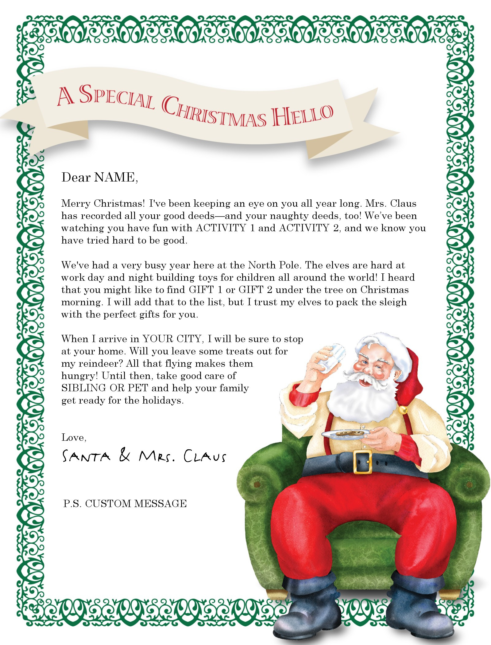 Custom Letter From Santa Template - New Letter From Santa Template Word
