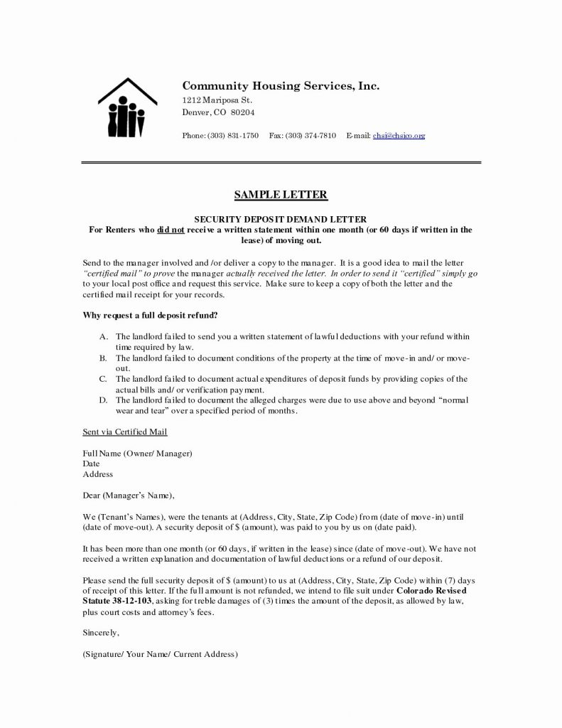 Security Deposit Demand Letter Template Collection Letter Cover