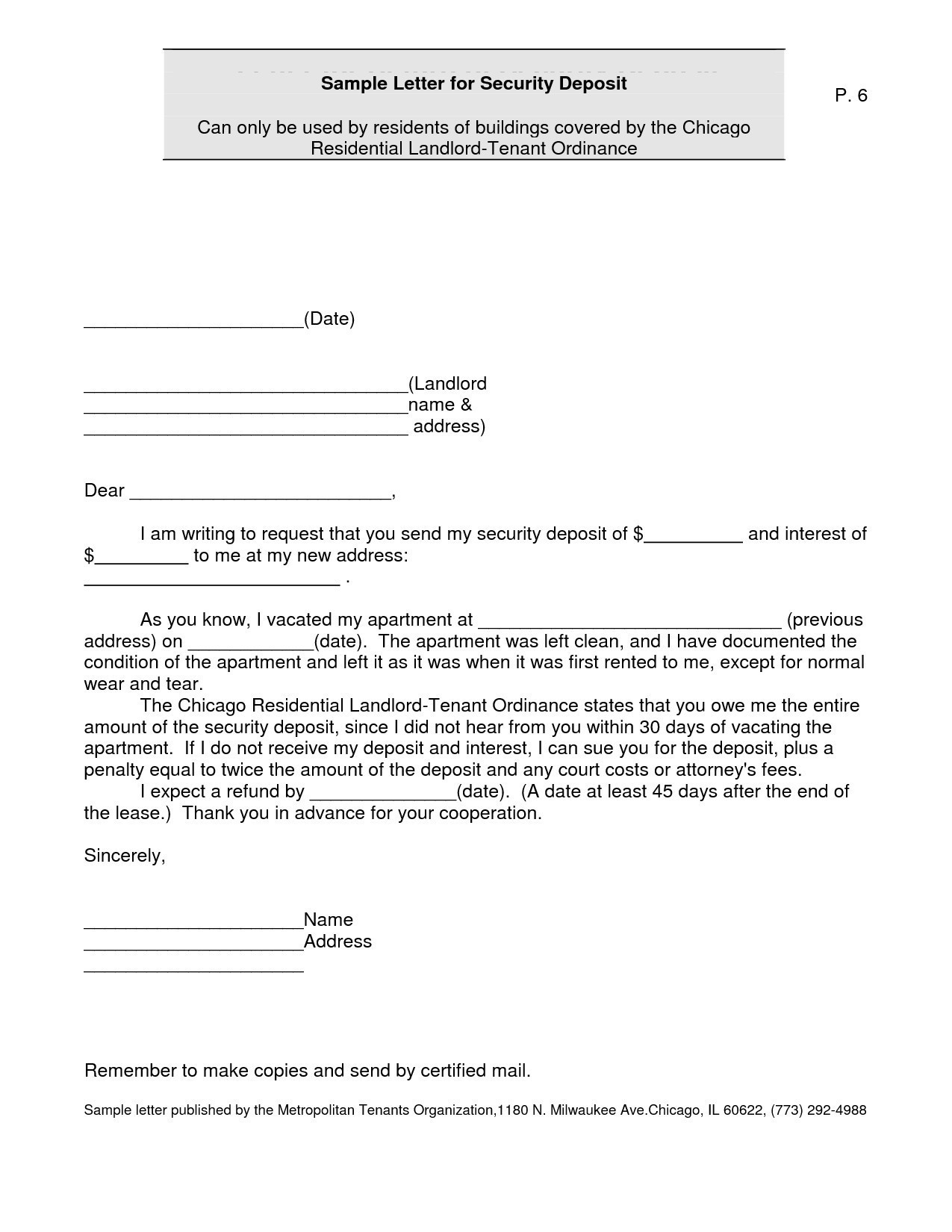Security Deposit Demand Letter Template Collection | Letter