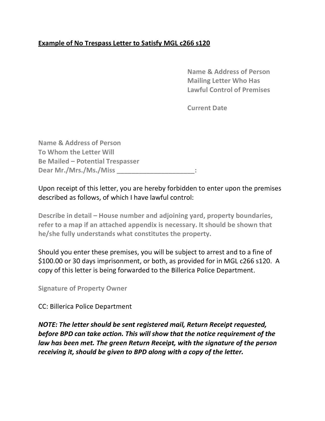 Cease And Desist Tresping Letter Template New Tresp Notice A Place For Lover