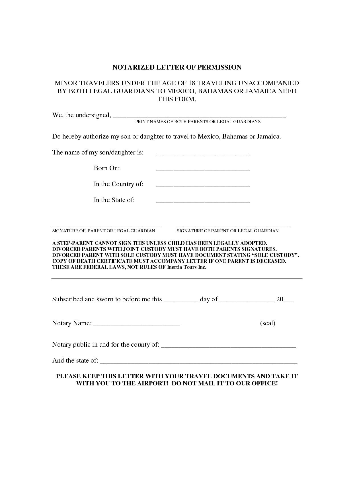 Notary Letter Template - Notarized Document Template