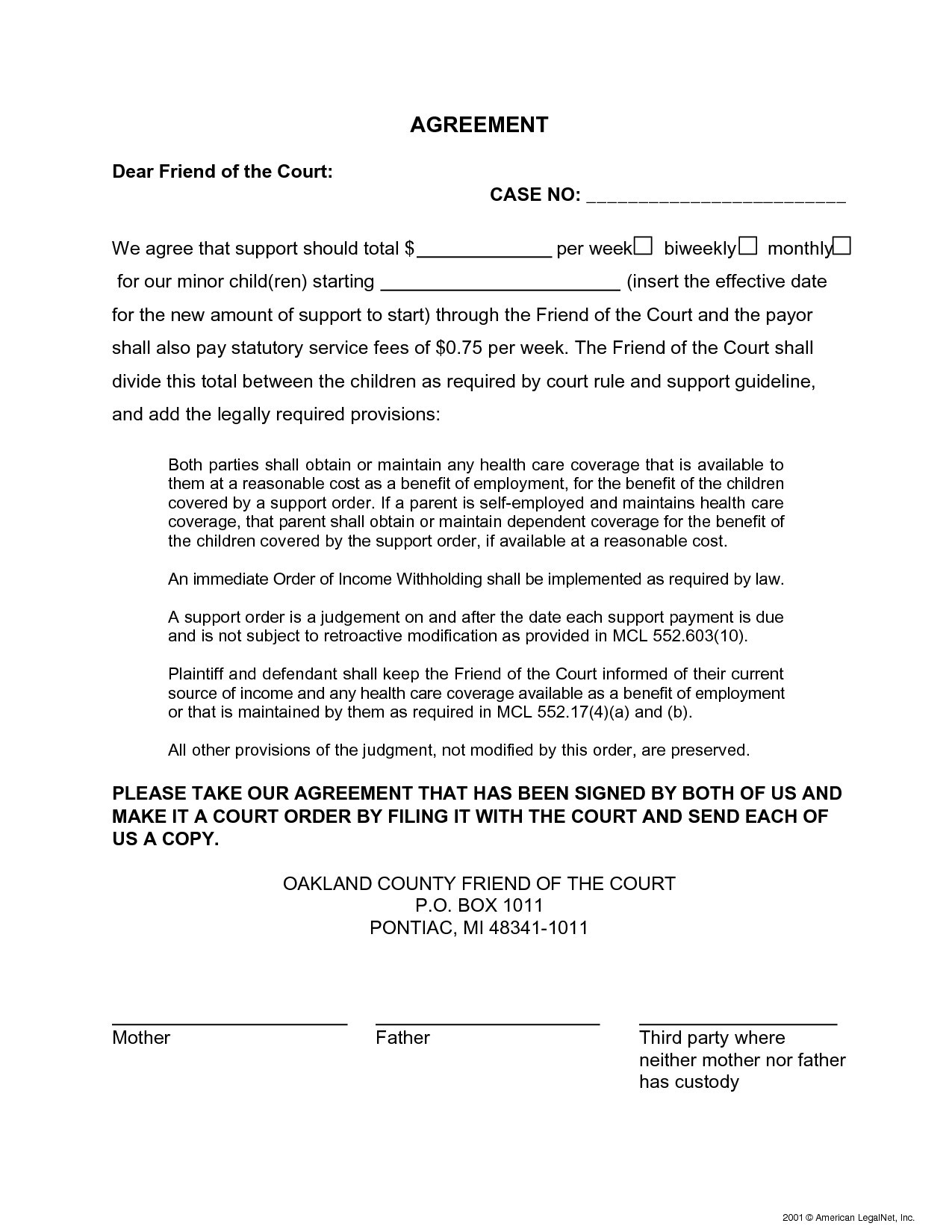 Child Maintenance Agreement Letter Template - Notarized Letter Agreement format Inspirationa Notarized Letter