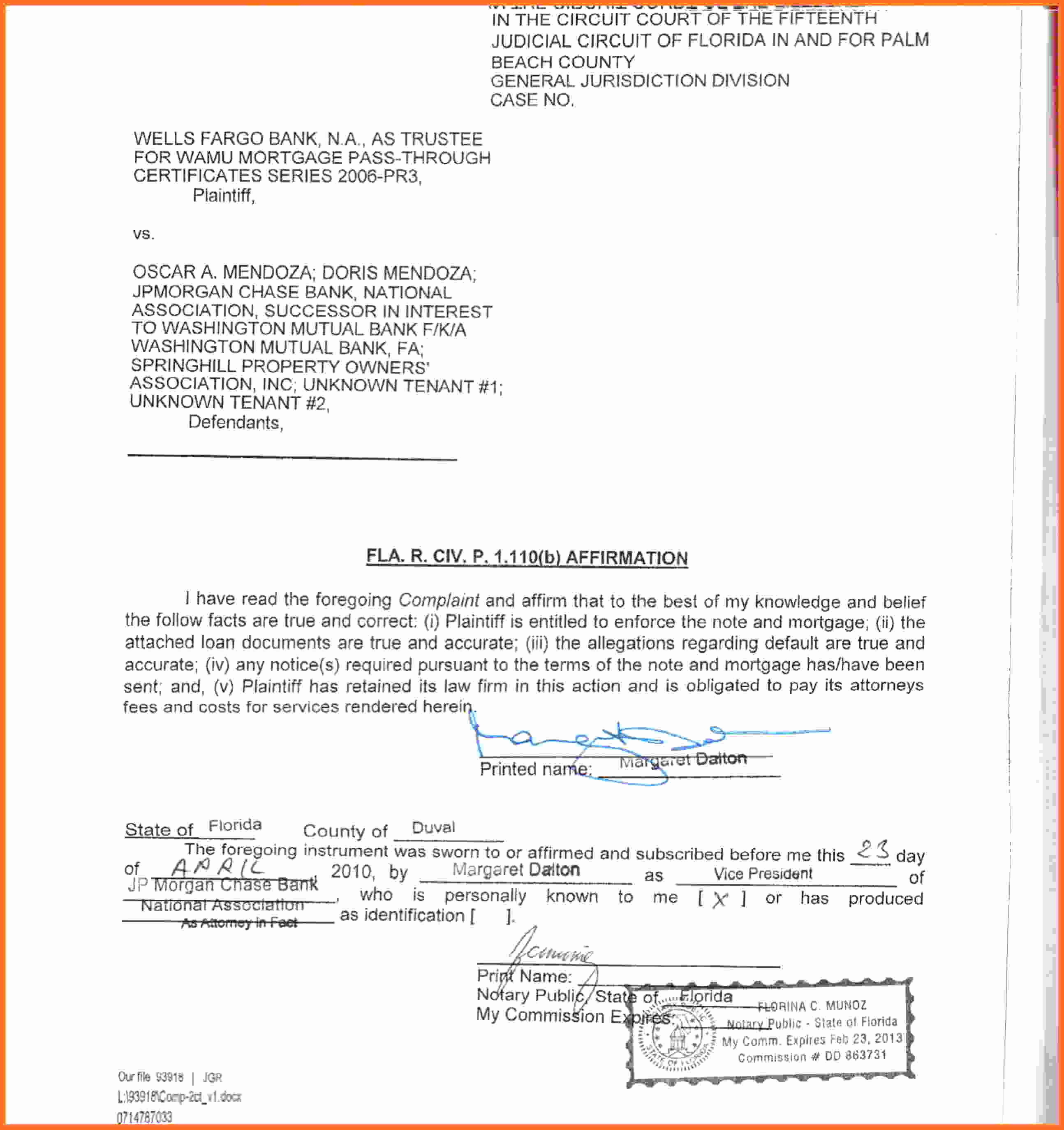 Notarized Letter Template Florida Samples | Letter Cover Templates