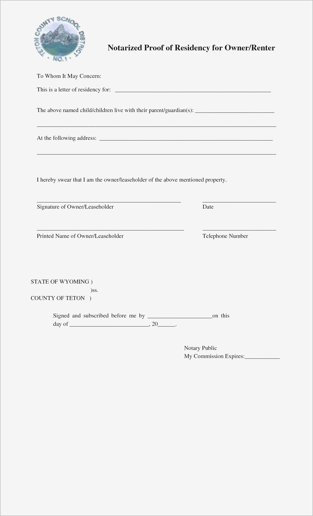 Proof Of Residency Letter Notarized Template - Notary forms New Printable Notarized Letter Residency Template