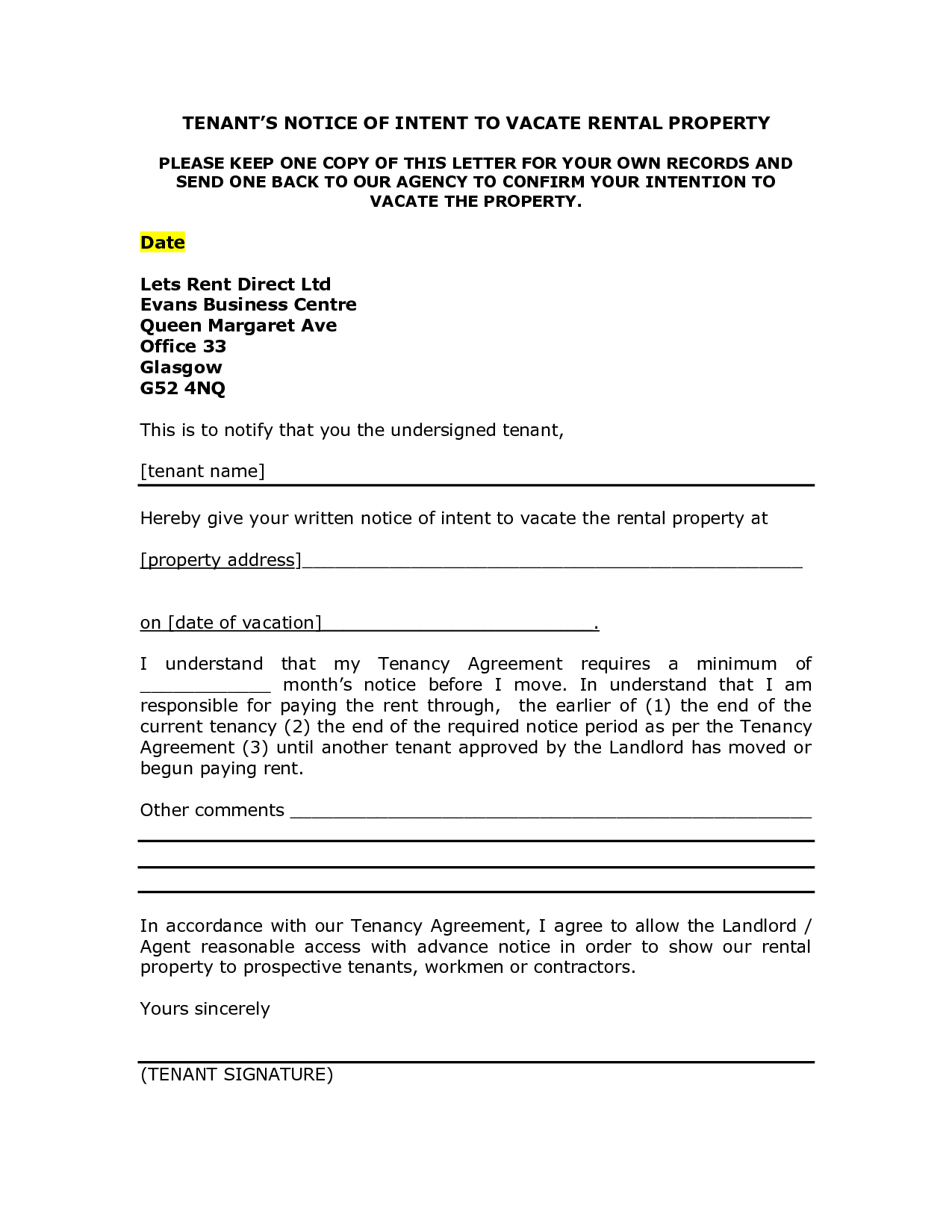 Notice Letter To Tenant From Landlord Template Samples Letter