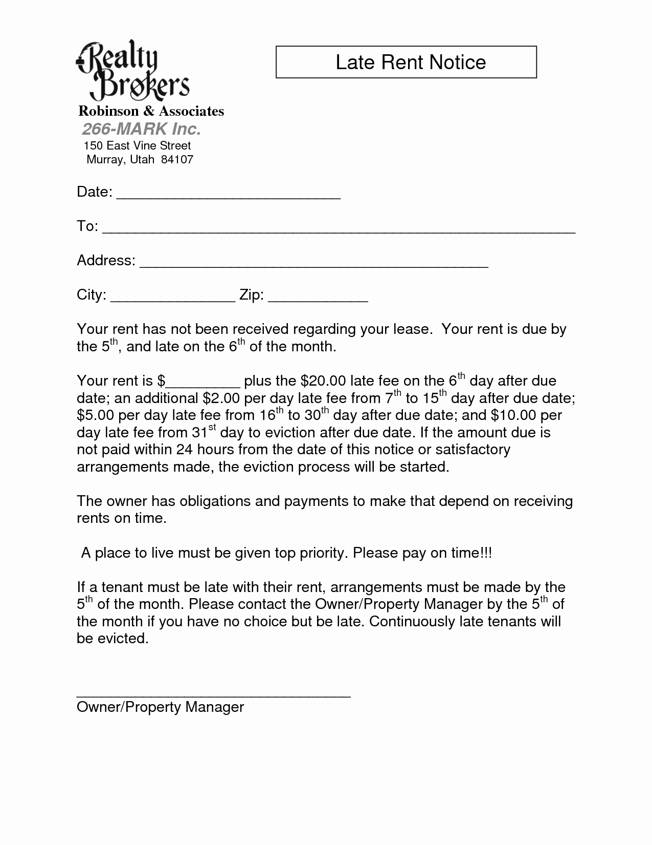 Late Rent Letter Template - Notice Letter to Landlord Template Awesome 19 New Late Rent Letter