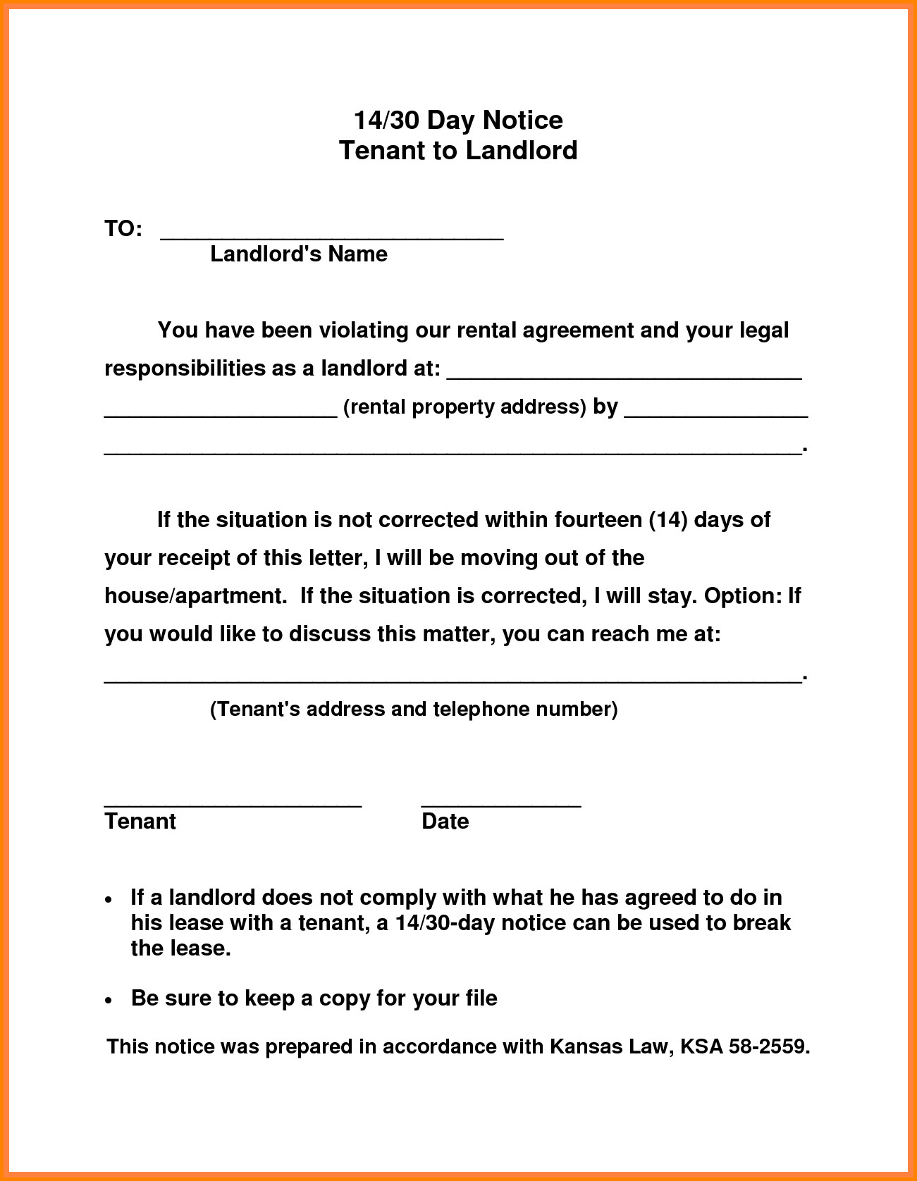 Notice Letter to Tenant From Landlord Template - Notice to Vacate Letter From Landlord Tenant California