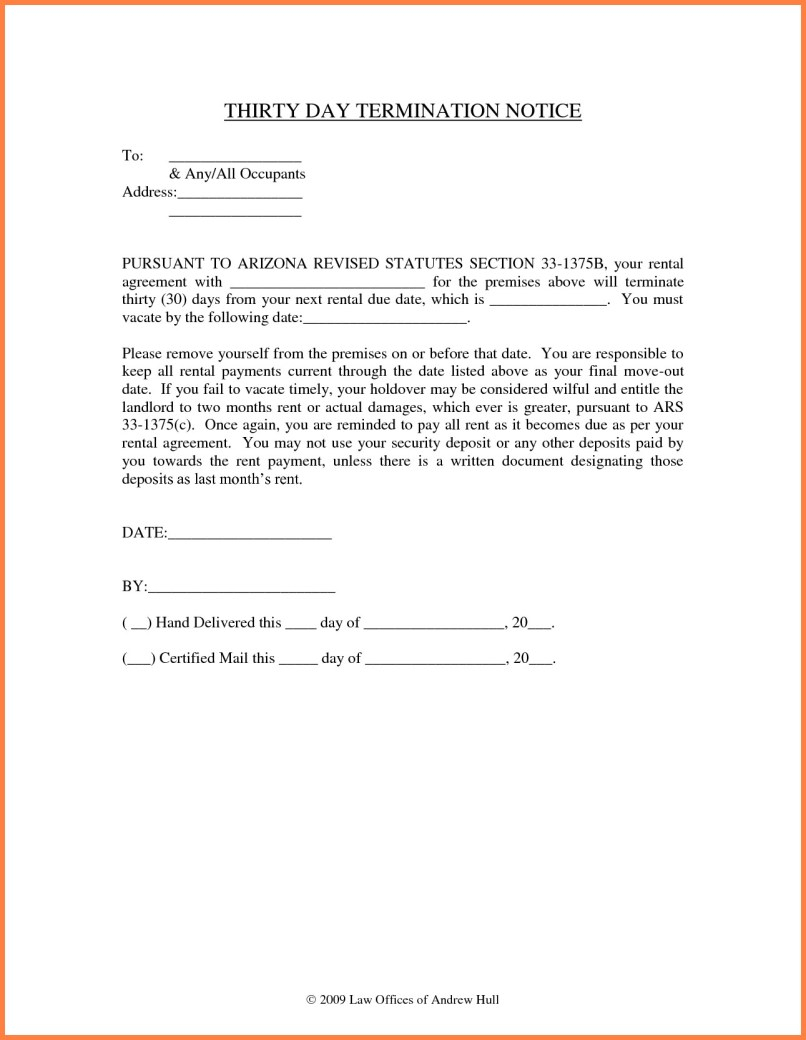 Notice Letter To Tenant From Landlord Template