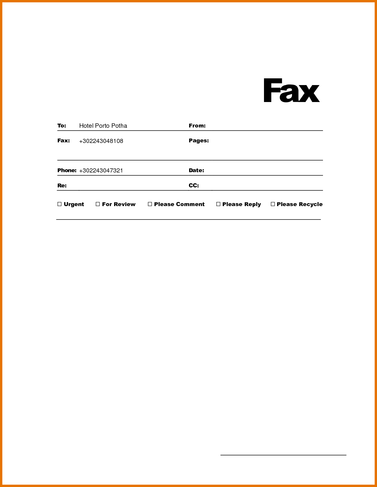 Free Fax Cover Letter Template Word - Openoffice Fax Cover Template