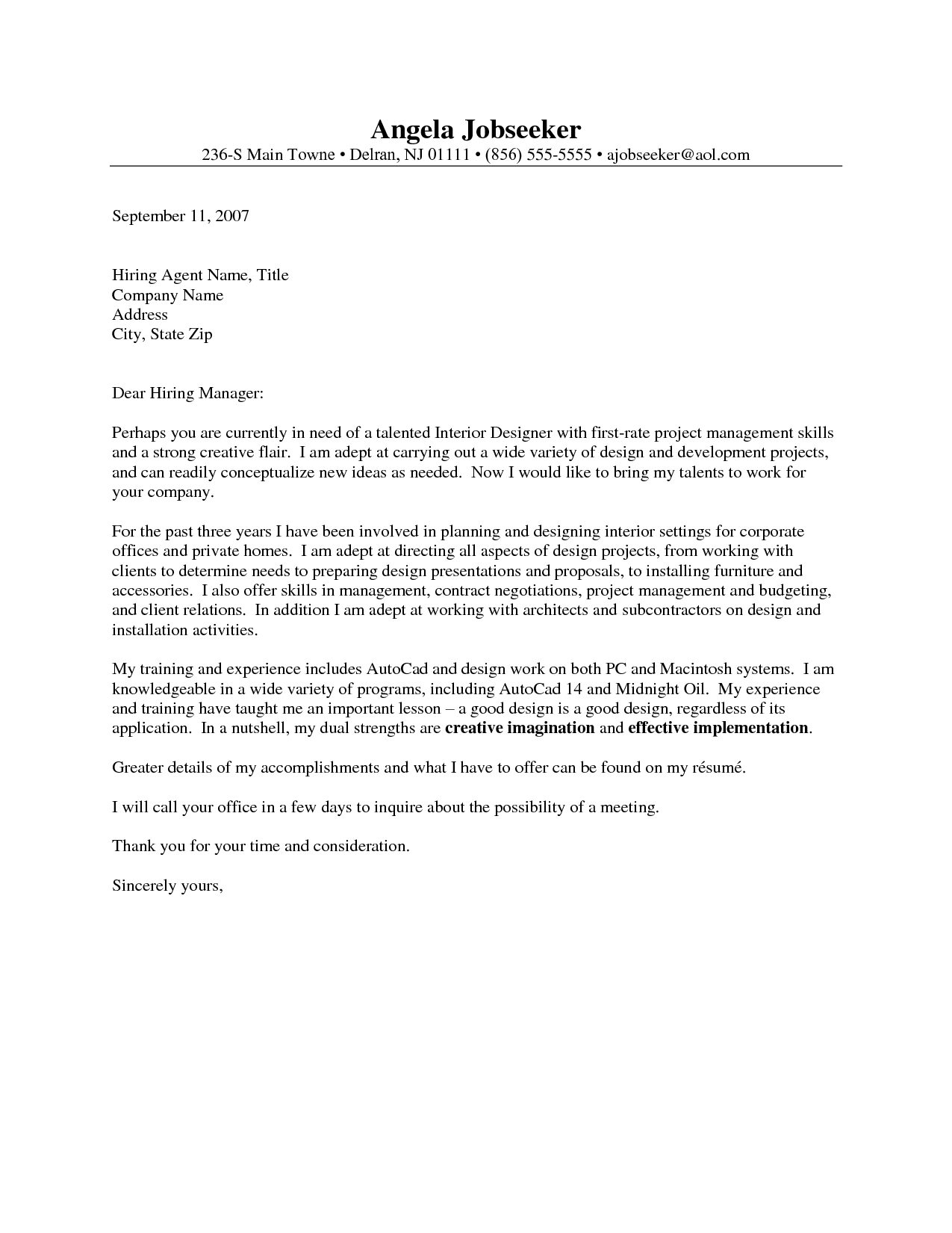 Portfolio Cover Letter Template - Outstanding Cover Letter Examples