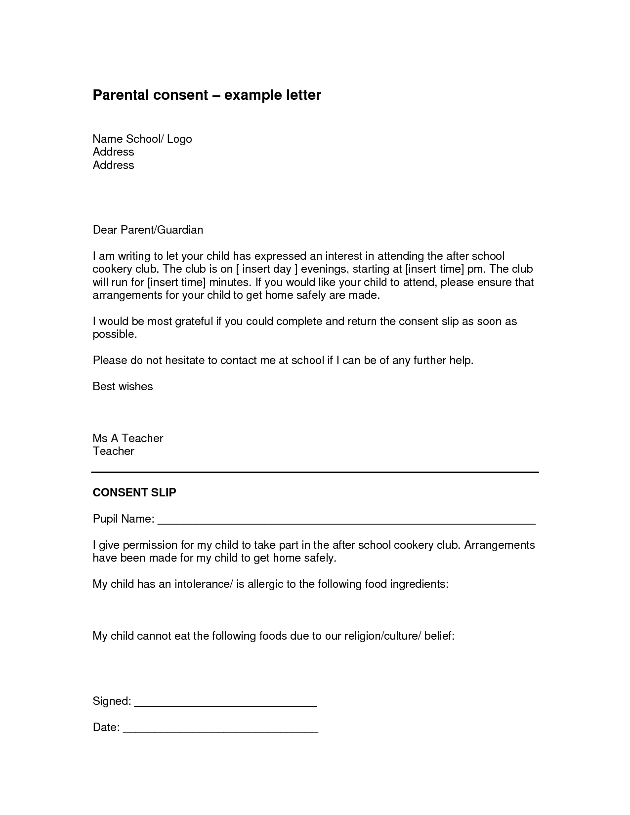 Weekly Letter to Parents Template - Parental Authorization Letter for Example Children Travelling