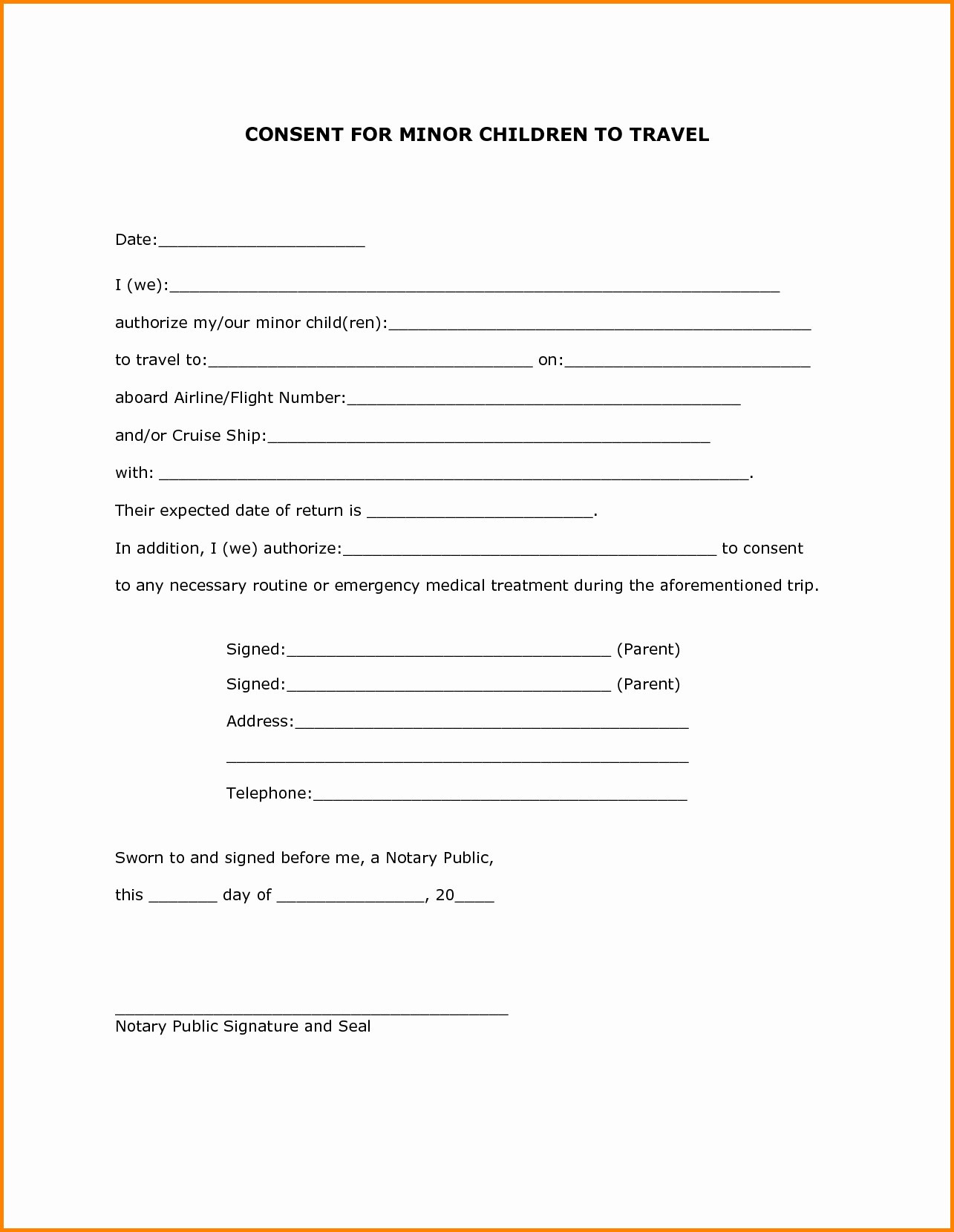 Letter Of Consent for Travel Of A Minor Child Template - Parental Consent form Template Elegant Travel Consent Letter Best