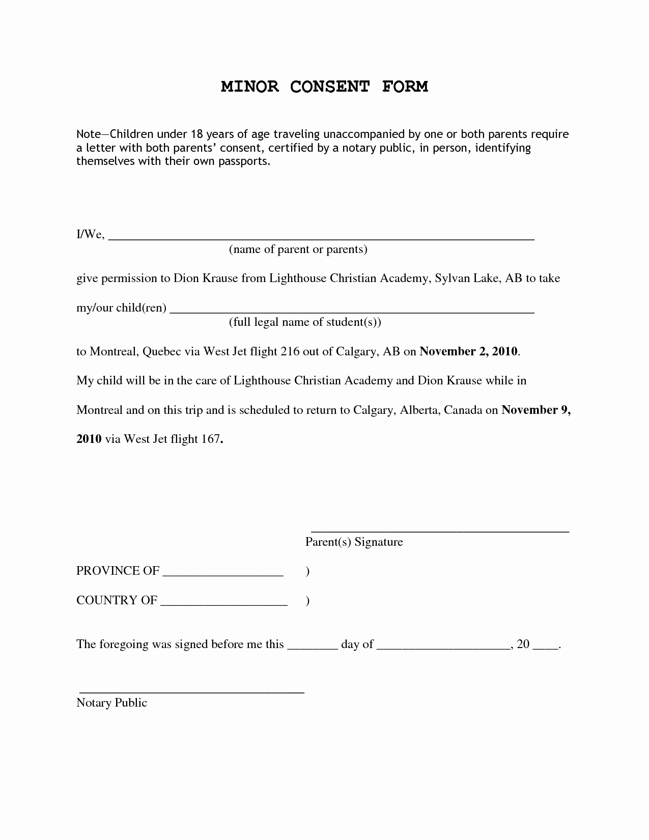 letter of consent for travel of a minor child template parental consent form template uk