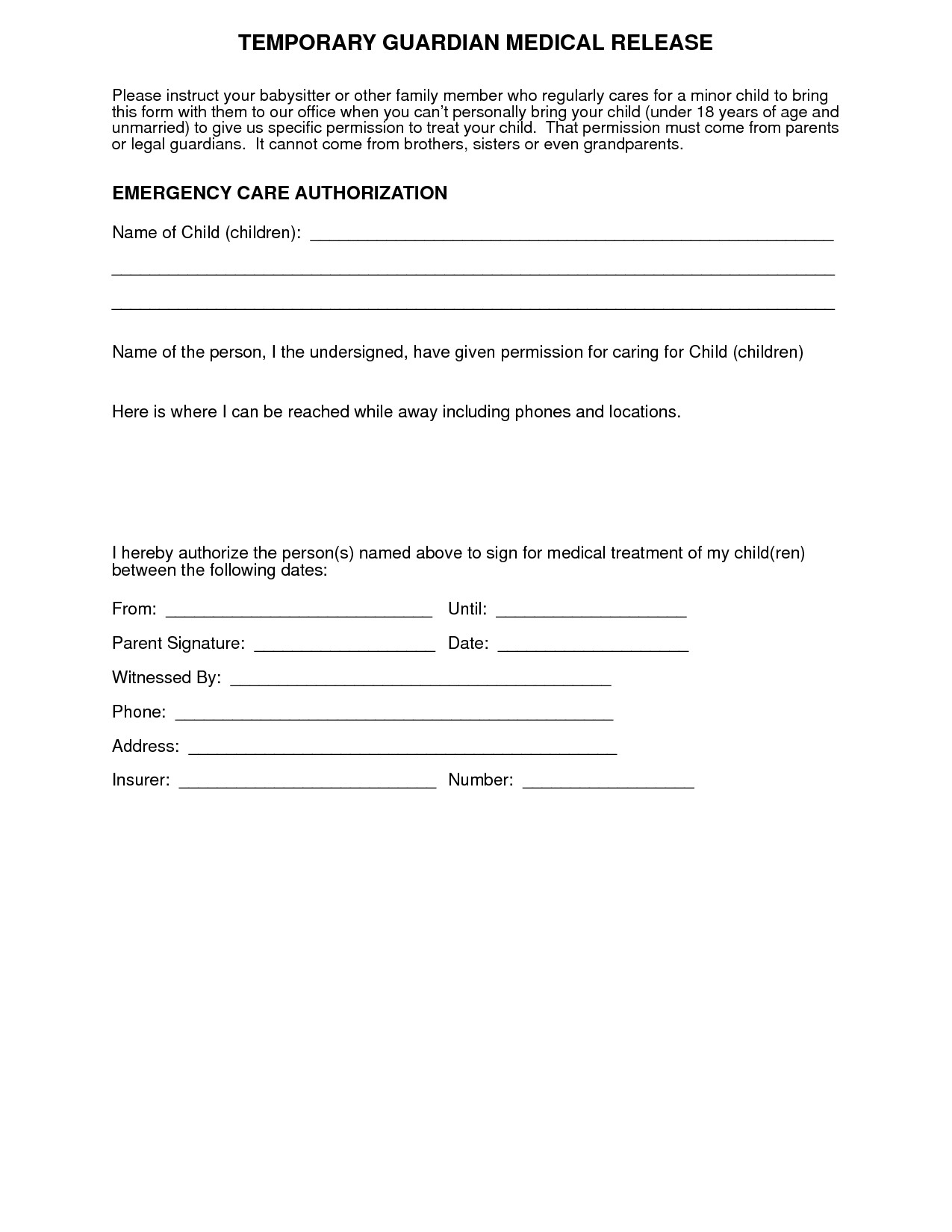 Letter Of Consent for Travel Of A Minor Child Template - Parental Medical Consent form Template