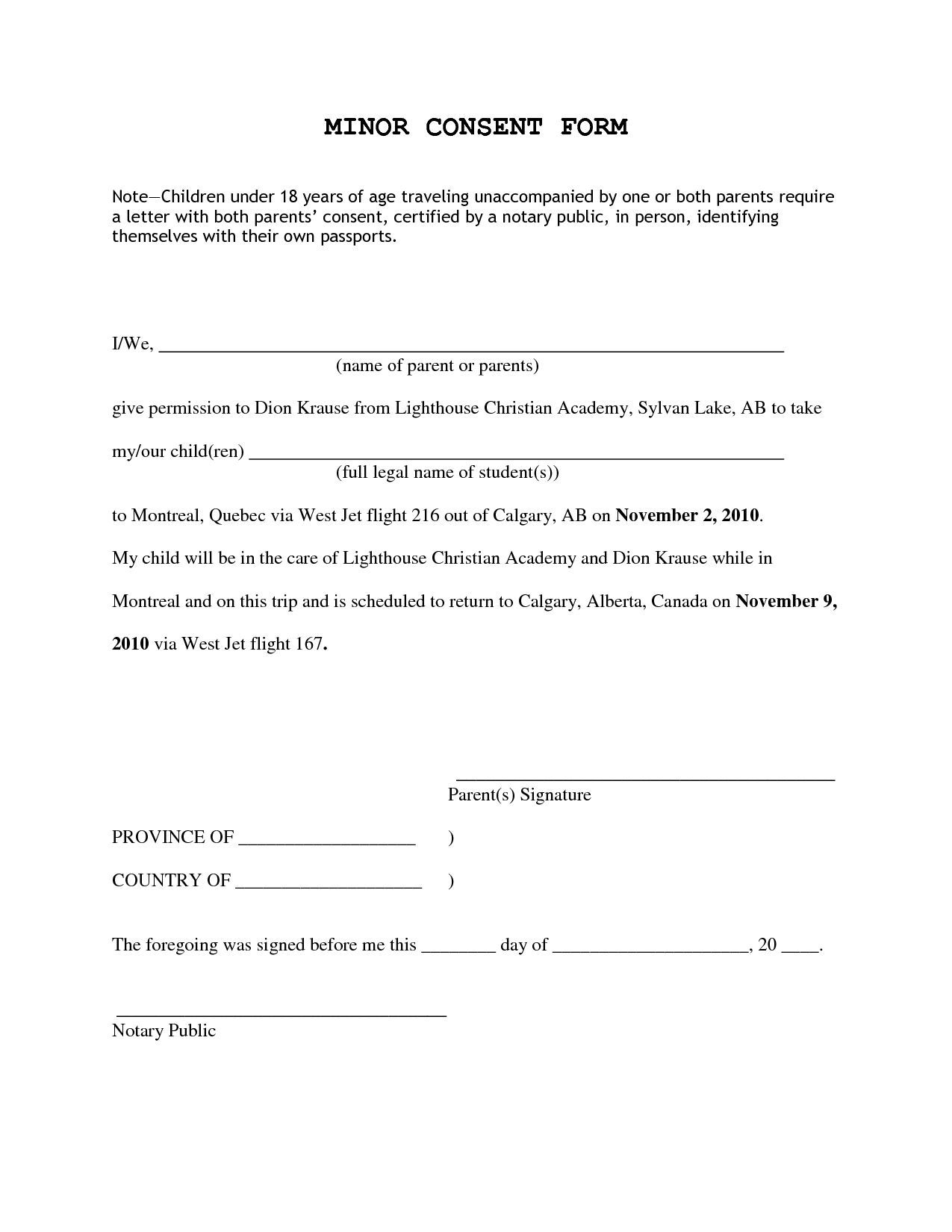 Parent Consent Letter for Travel Template - Parents Re Mendation Letter for Child Acurnamedia