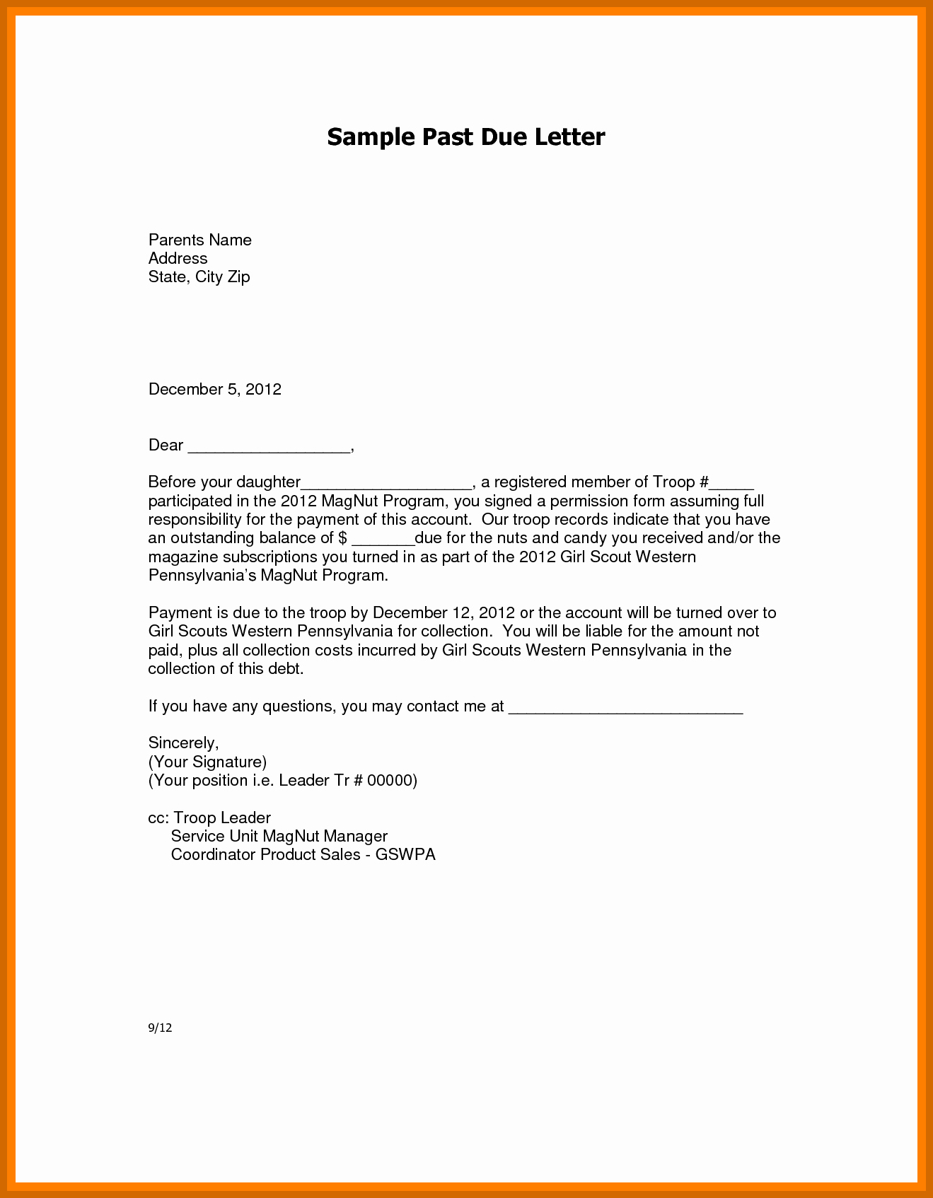 Past Due Invoice Letter Template - Past Due Invoice Letter Sample Free