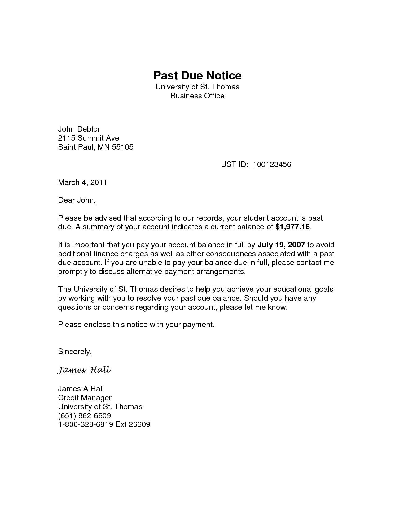 Past Due Rent Letter Template - Past Due Notice Acurnamedia