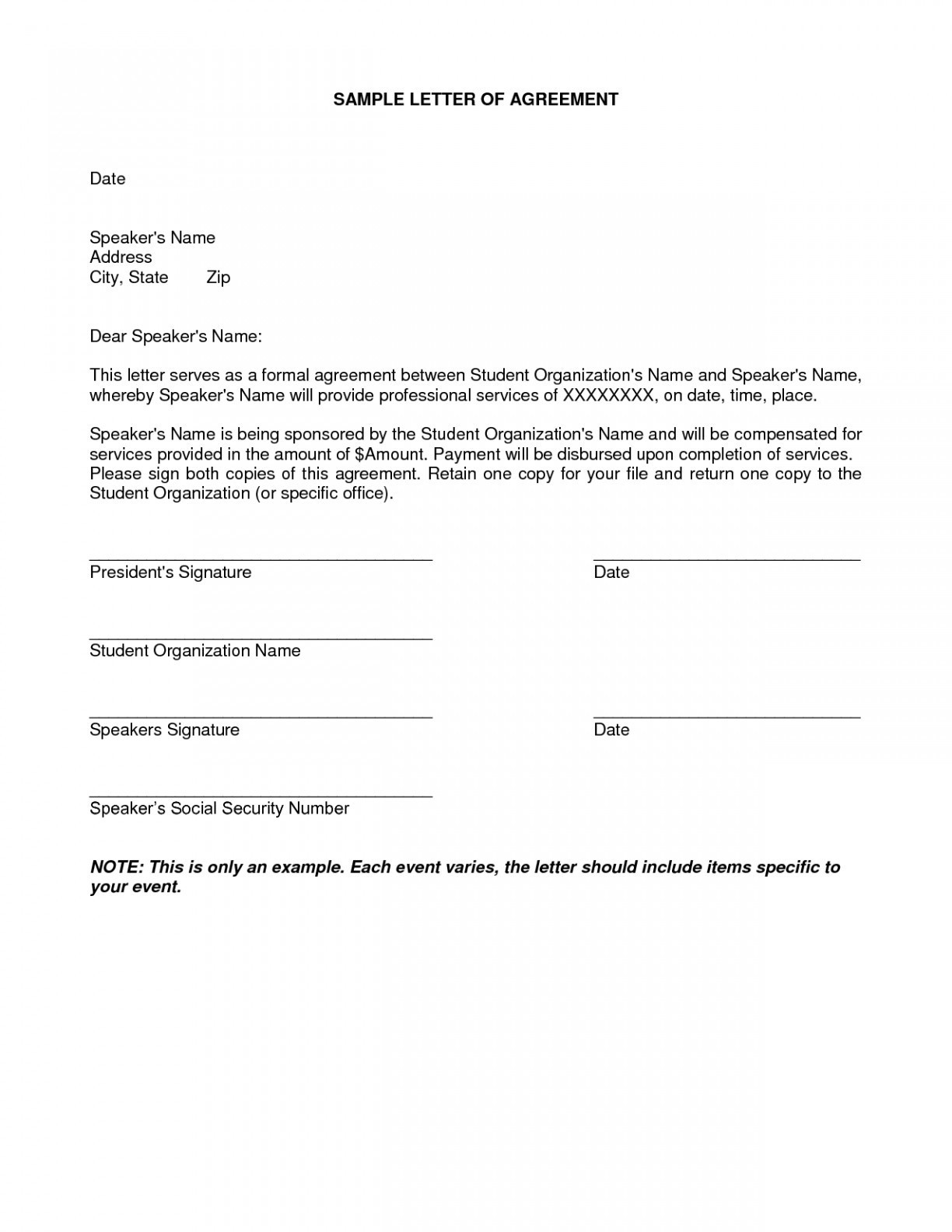 Payment Agreement Letter Template - Payment Agreement Letter format New Undertaking Letter format