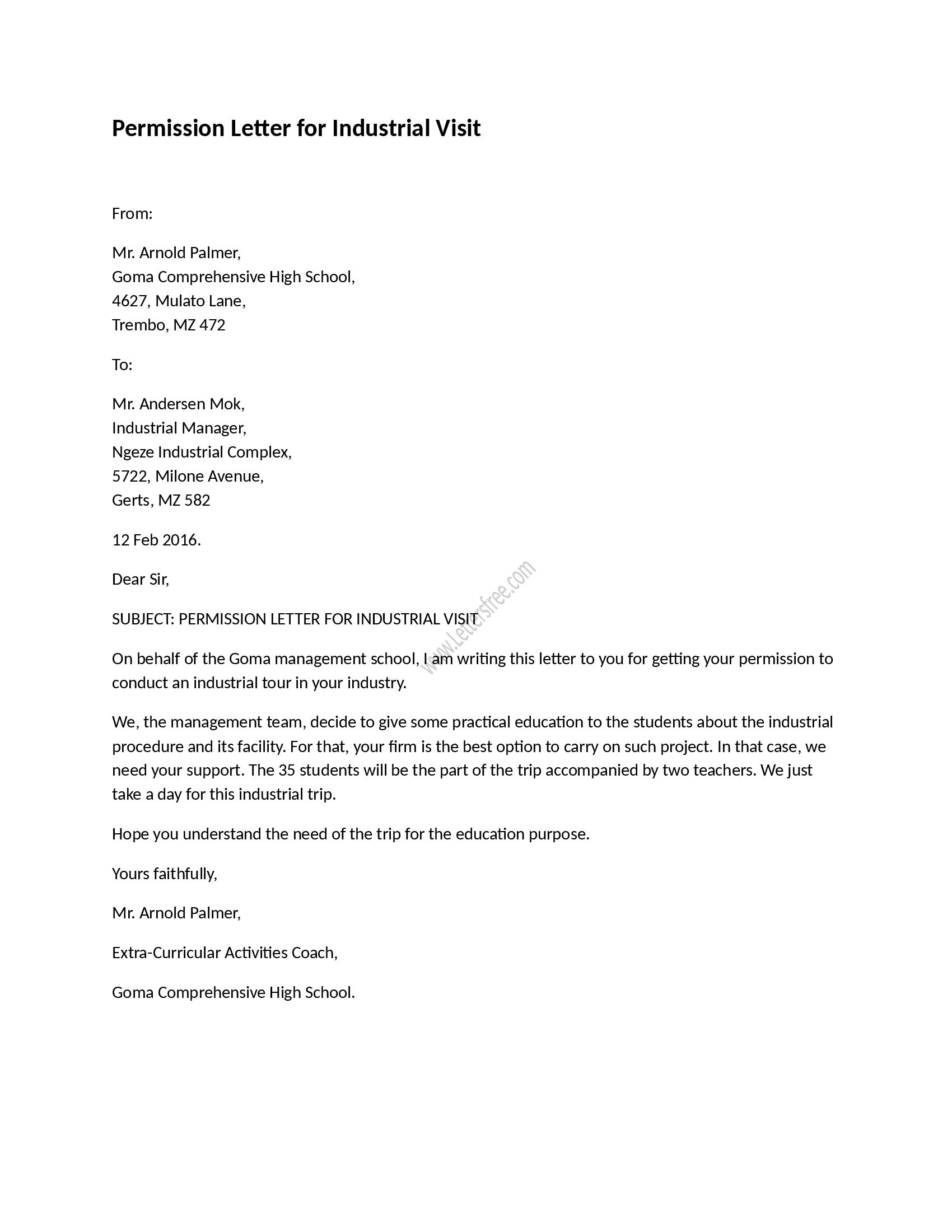 Child Visitation Letter Template - Permission Letter for Industrial Visit Pinterest