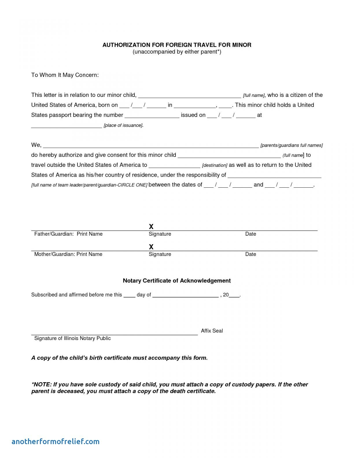 Notarized Letter Template for Child Travel - Permission Letter to Travel Refrence Microsoft Word Consent