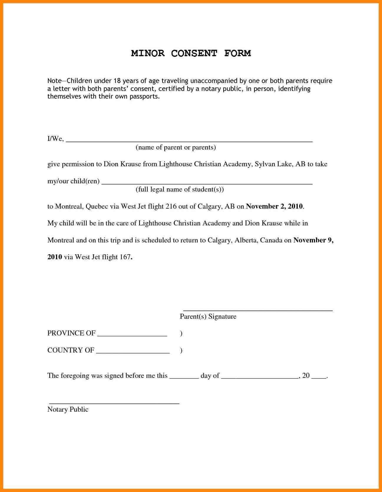 Child Travel Consent Letter Template - Permission Letter to Travel Valid Travel Consent Letter Fresh for