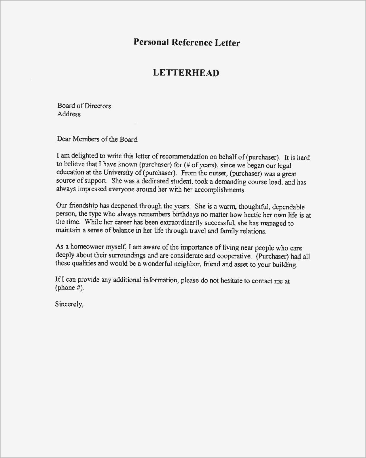 free sample personal reference letter template personal letter re mendation template ideas