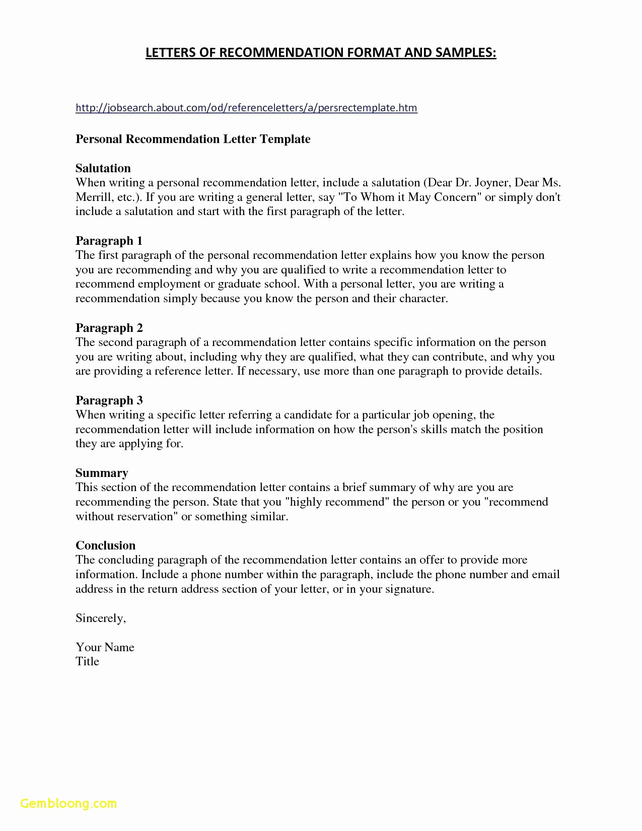 Personal Letter Template - Personal Re Mendation Letter for Employment Lovely References for