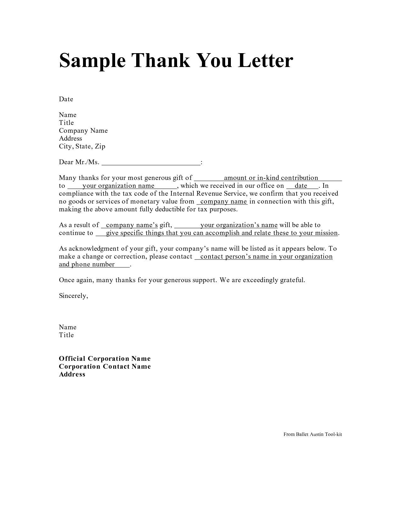 In Kind Donation Letter Template - Personal Thank You Letter Personal Thank You Letter Samples
