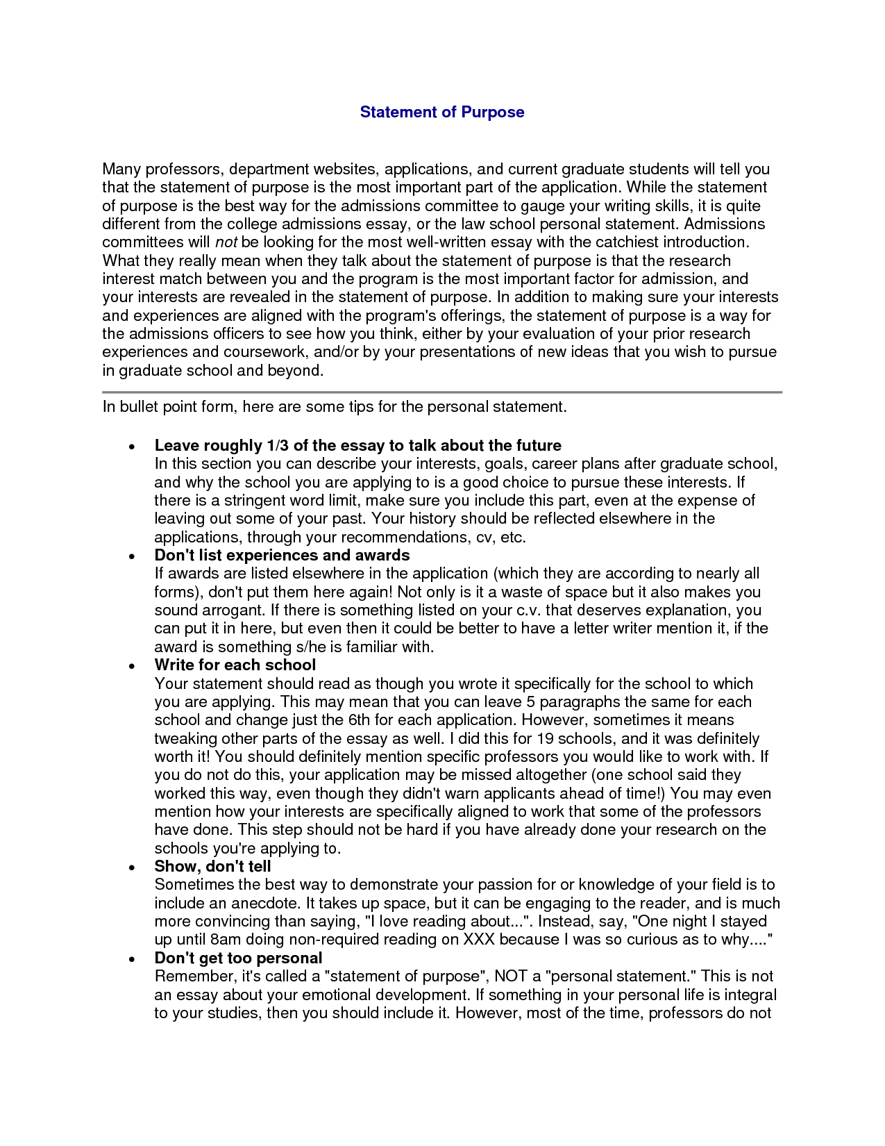 Letter Of Intent Template Graduate School - Phd Essays Personal Statement Sample for Cover Letter Purpose