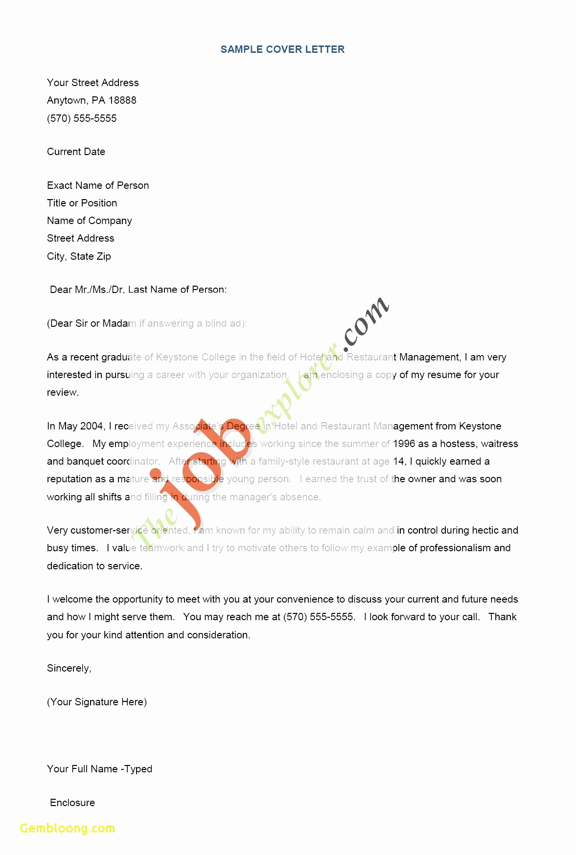 Physical Therapy Cover Letter Template