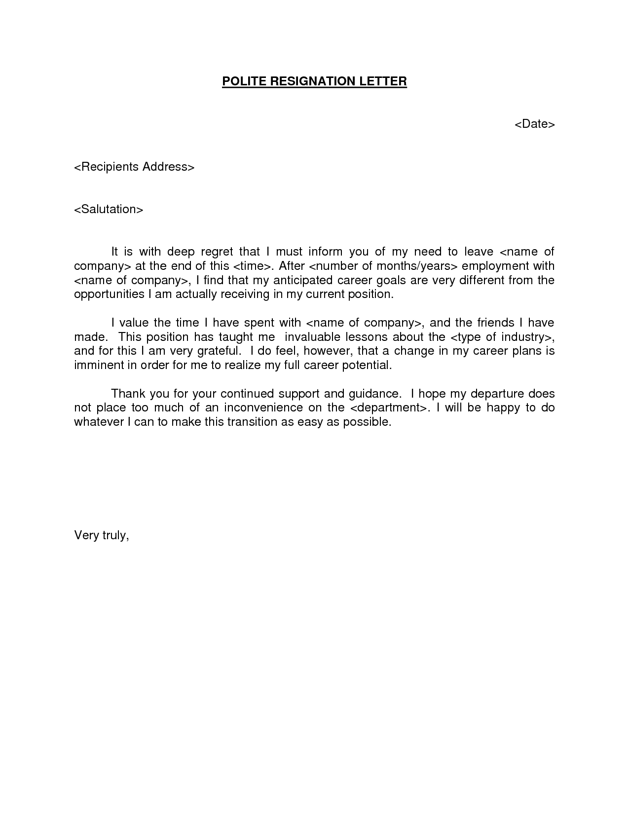 Official Letter Of Resignation Template
