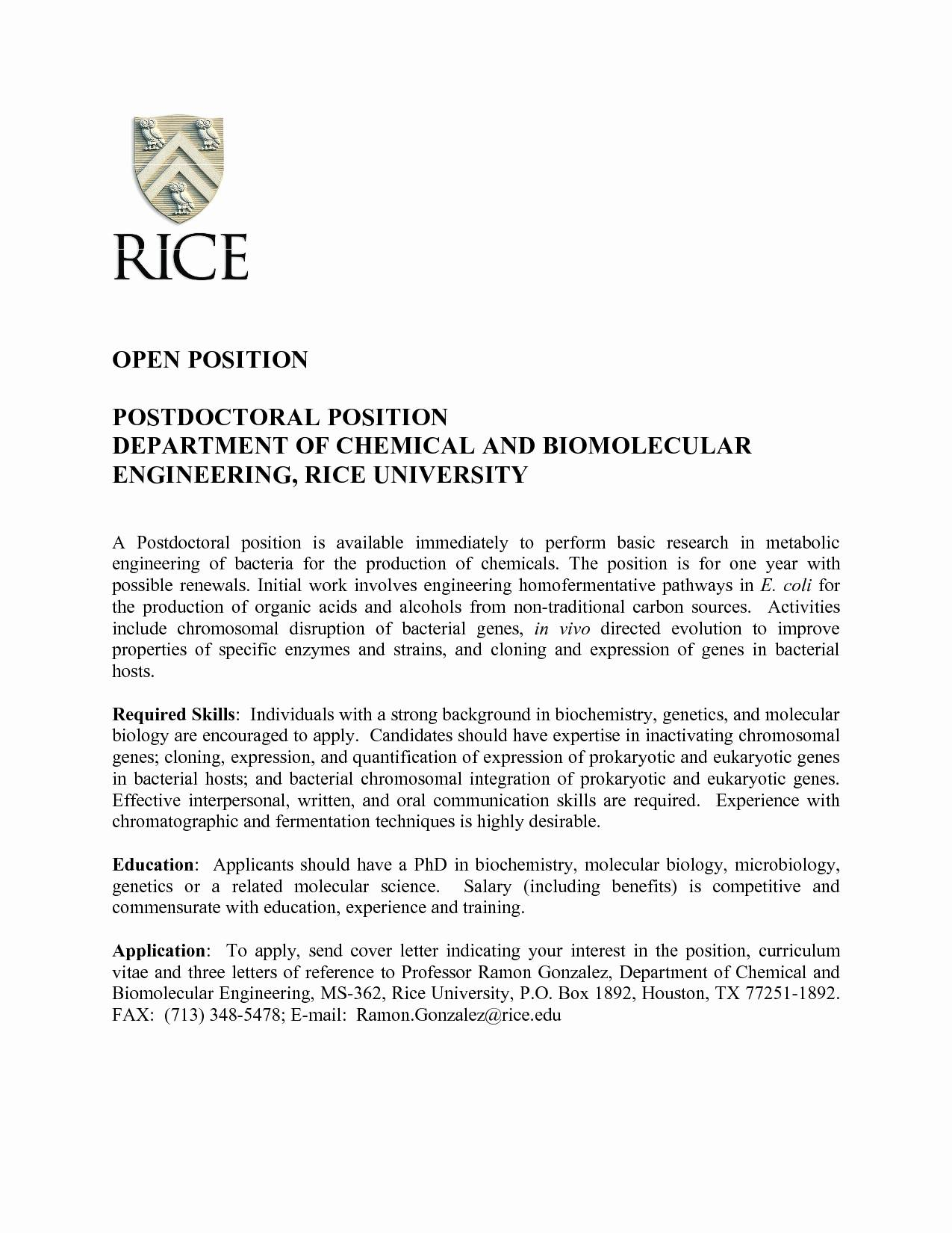Postdoc Cover Letter Template - Postdoc Cover Letter Sample Biology Awesome 30 Luxury Cover Letter