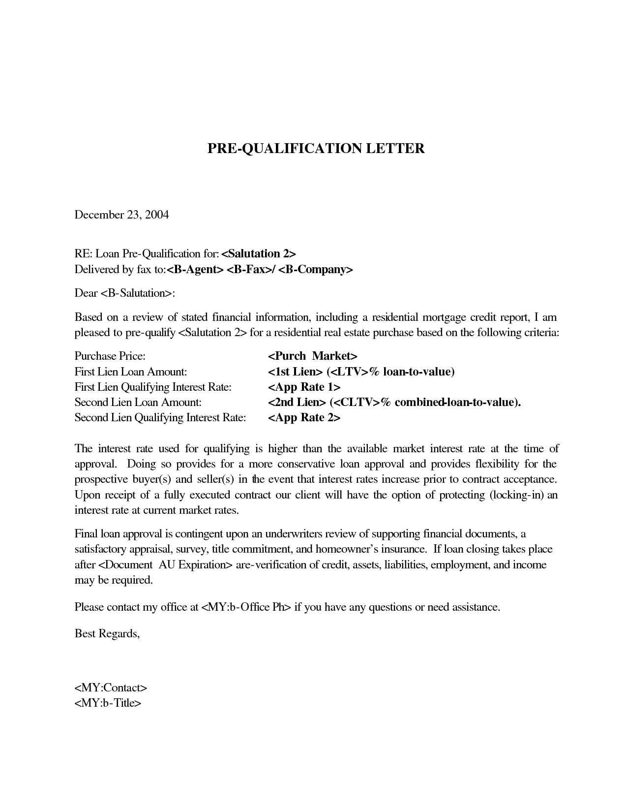 pre qualification letter mortgage pre qualification letter template collection 24043