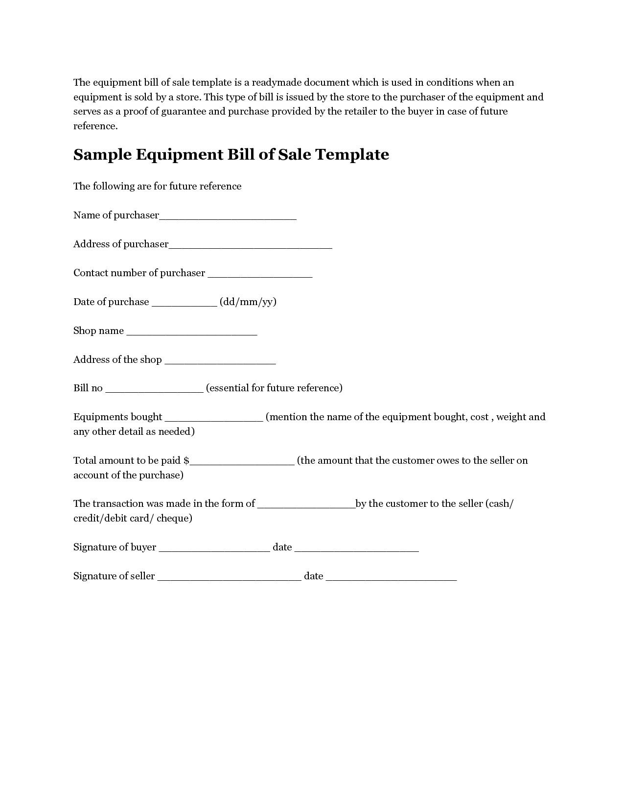 Personal Loan Repayment Letter Template - Printable Sample Equipment Bill Sale Template form