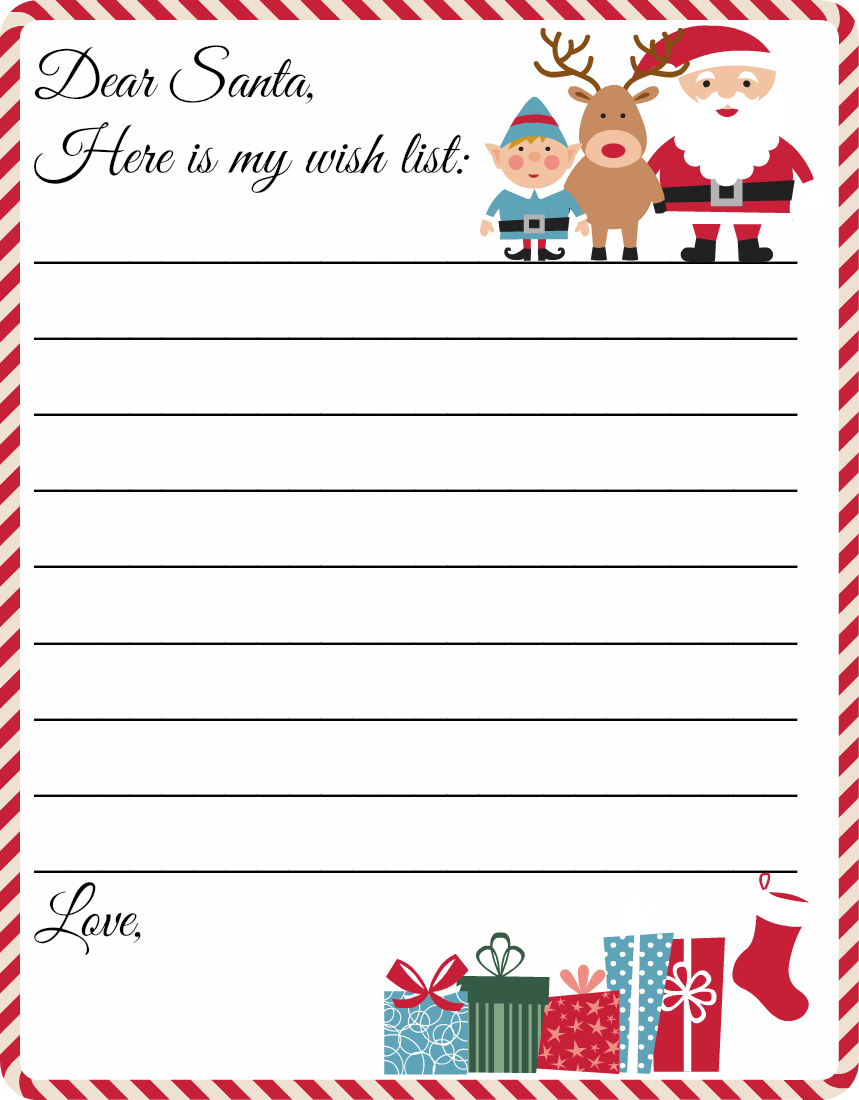 Free Letter to Santa Template Printable - Printable Santa Wish List Template