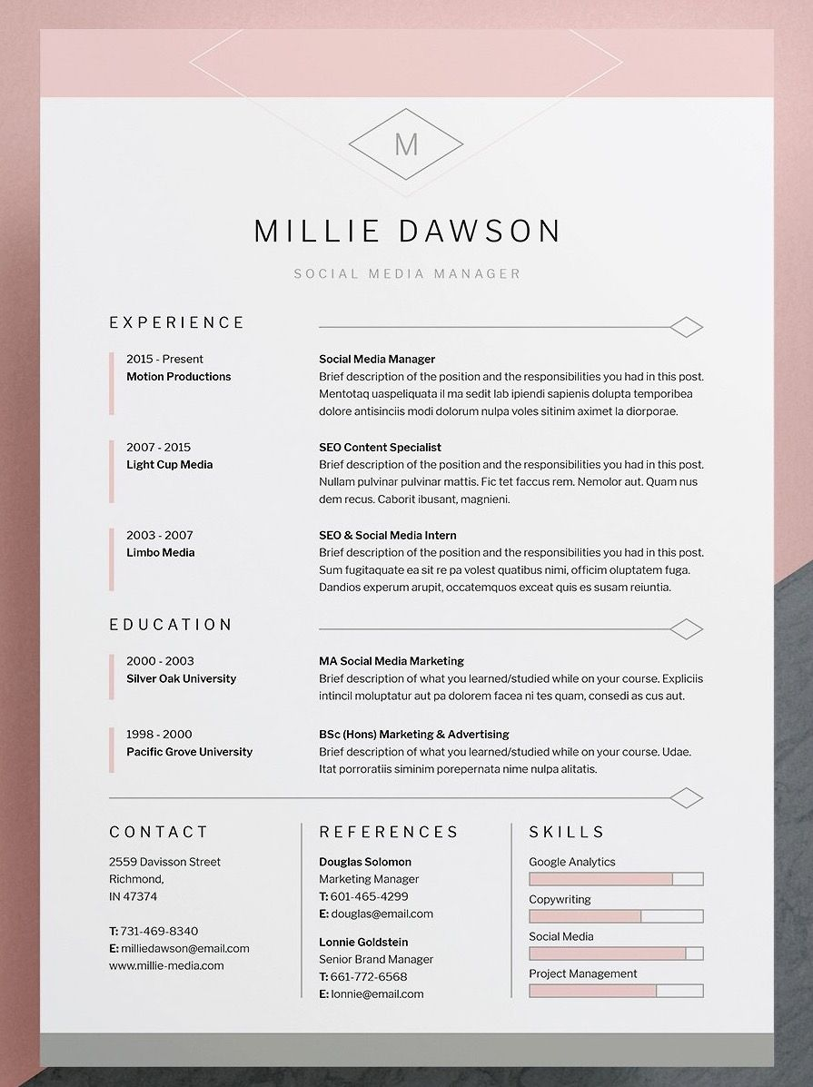 indesign cover letter template example-Professional elegant Resume CV Template with matching cover letter template Available for Word shop Indesign Instant Easy to edit 6-s