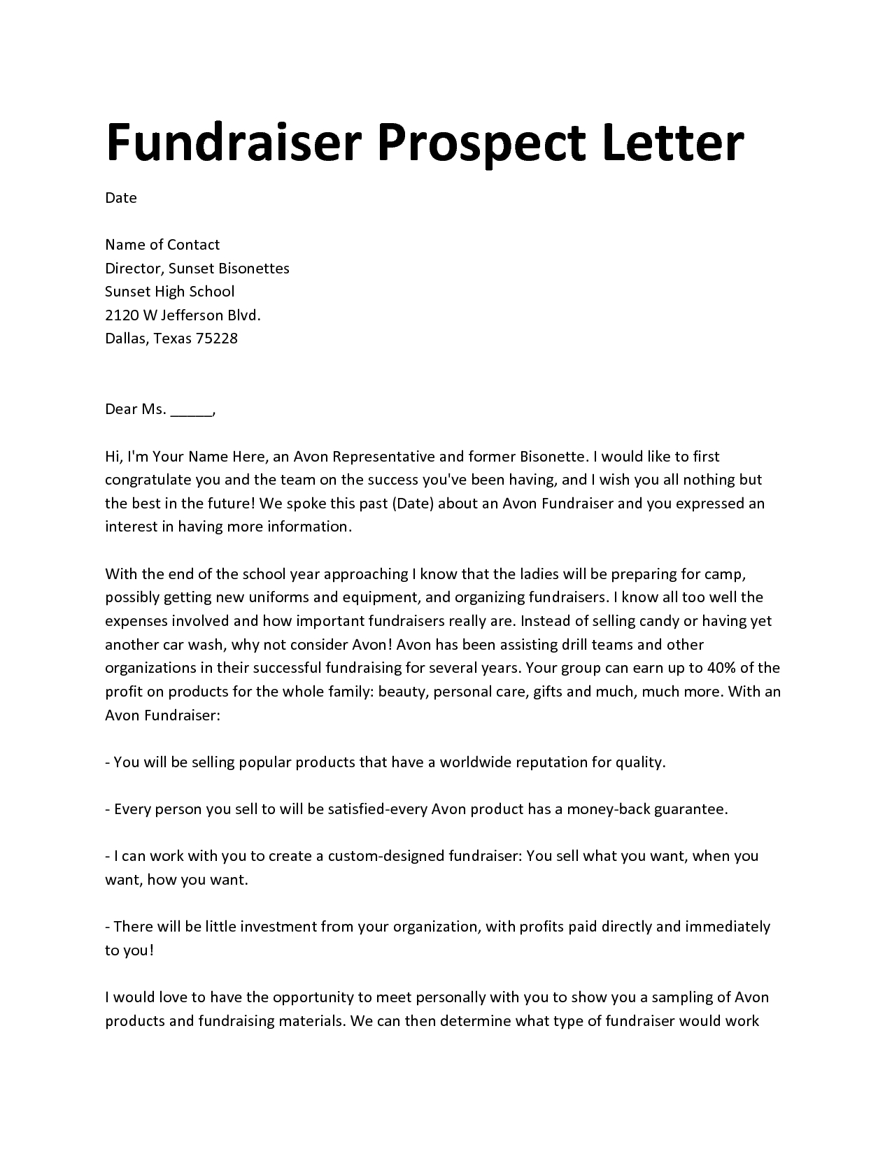 Fundraiser Proposal Letter Template - Professional Fundraiser Cover Letter Custom Paper Academic Writing
