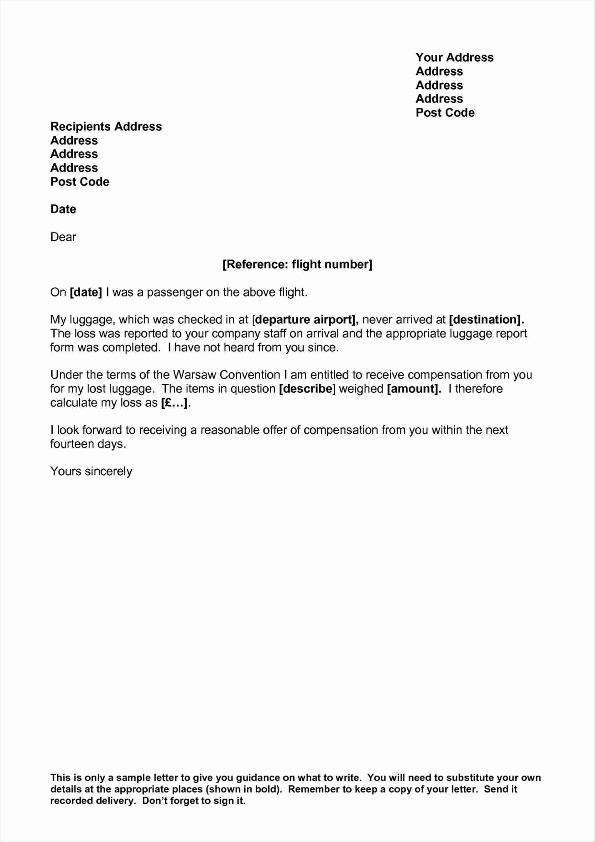 Flight Delay Compensation Letter Template - Professional Letter format Second Page Fresh Luggage Claim Letter