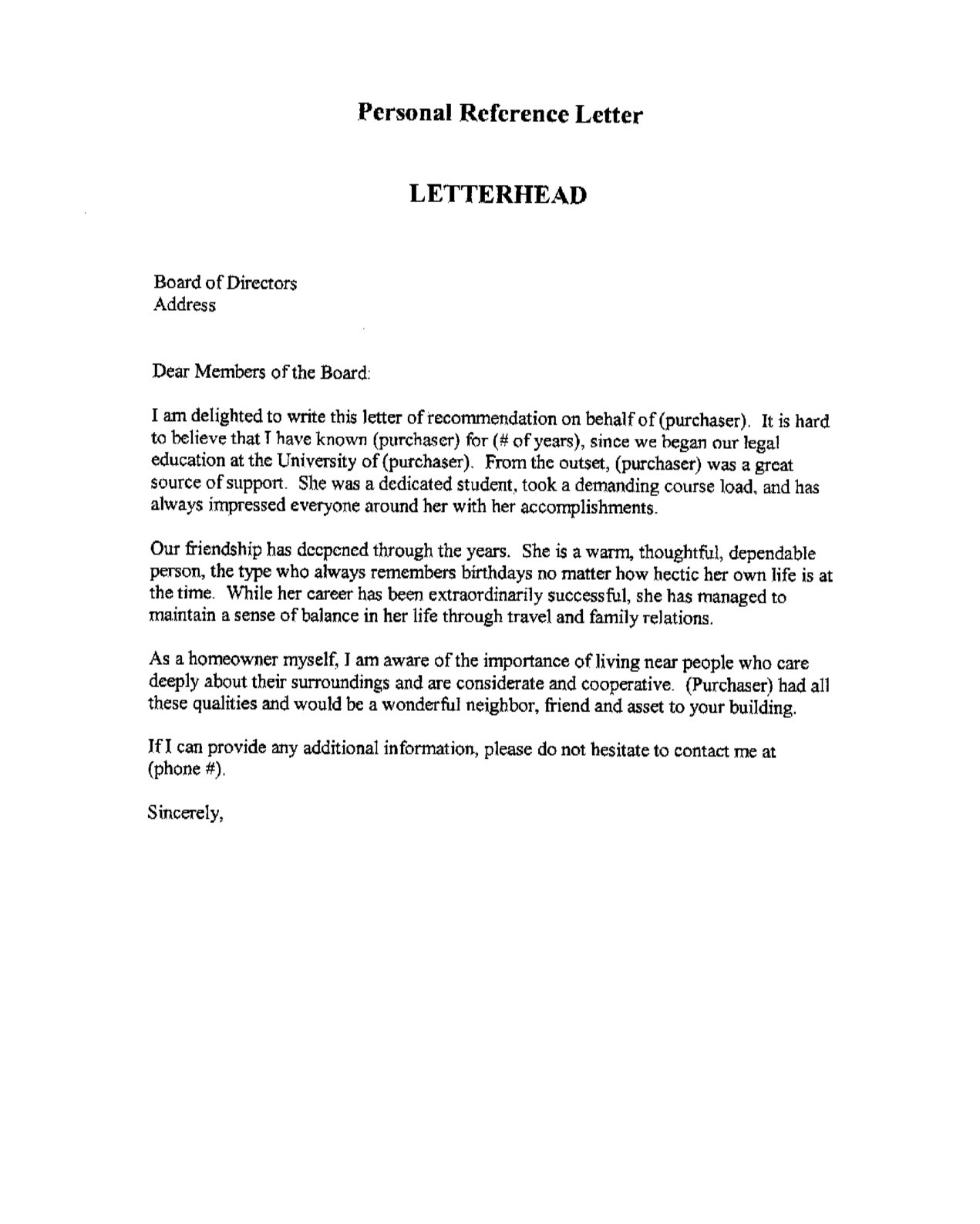 Personal Reference Letter for A Friend Template - Professional Letter Reference Sample Gallery Letter format