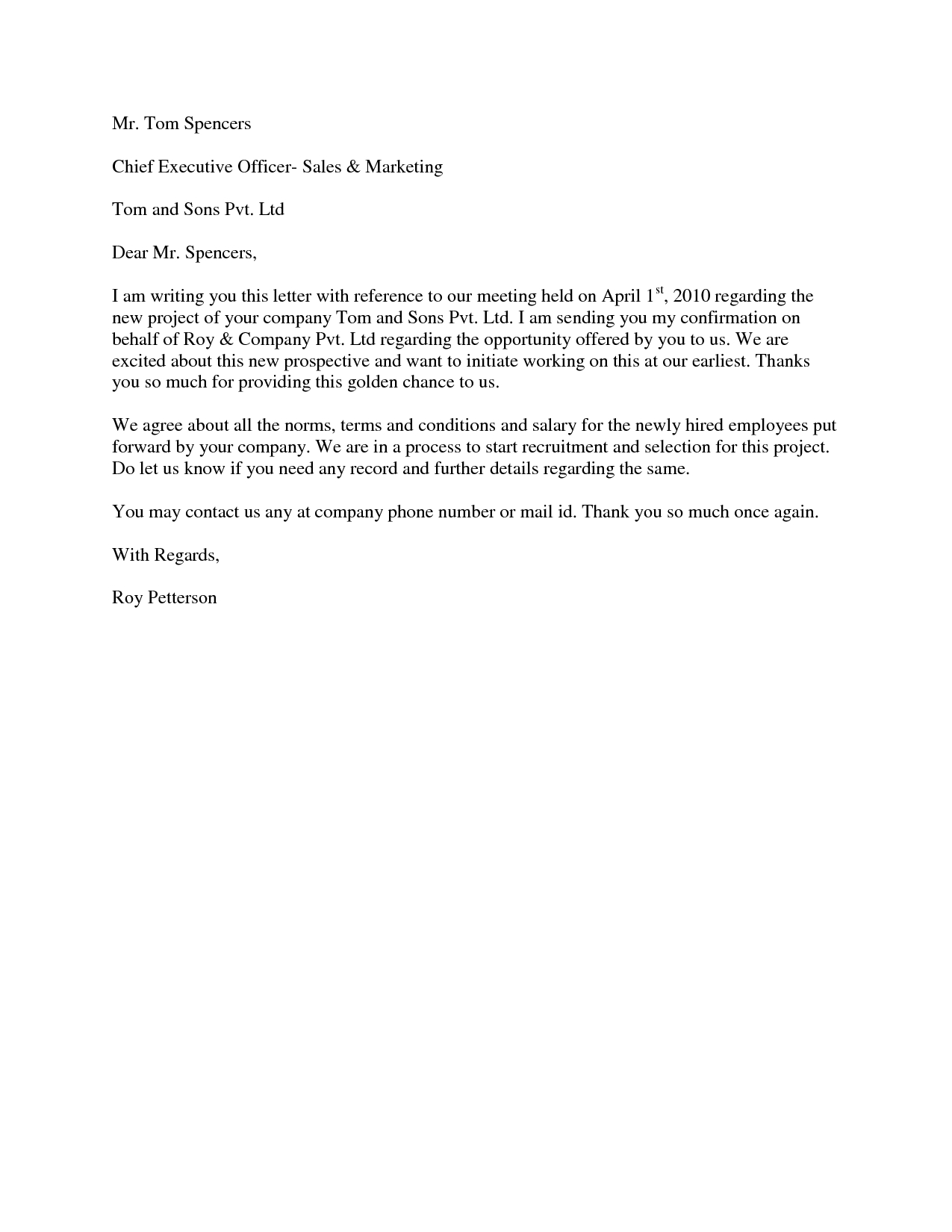 Employment Acceptance Letter Template - Project Acceptance Letter Use This Section to Prepare the Letter