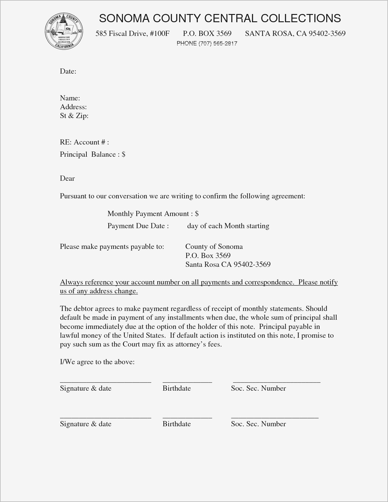 Promise to Pay Letter Template - Promise to Pay Agreement Ideas