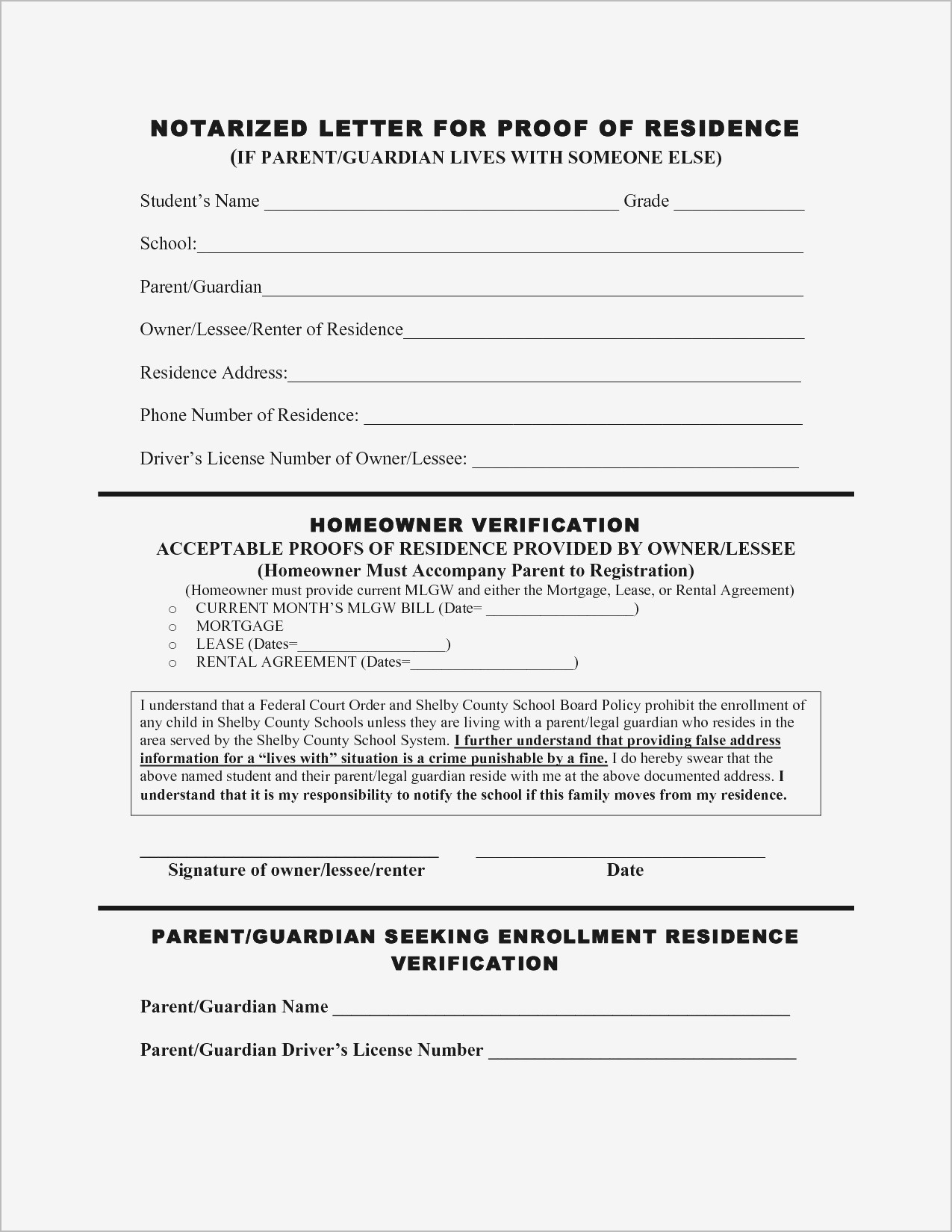 Proof Of Residency Letter Notarized Template - Proof Residency Letter Template Word Awesome Printable Notarized