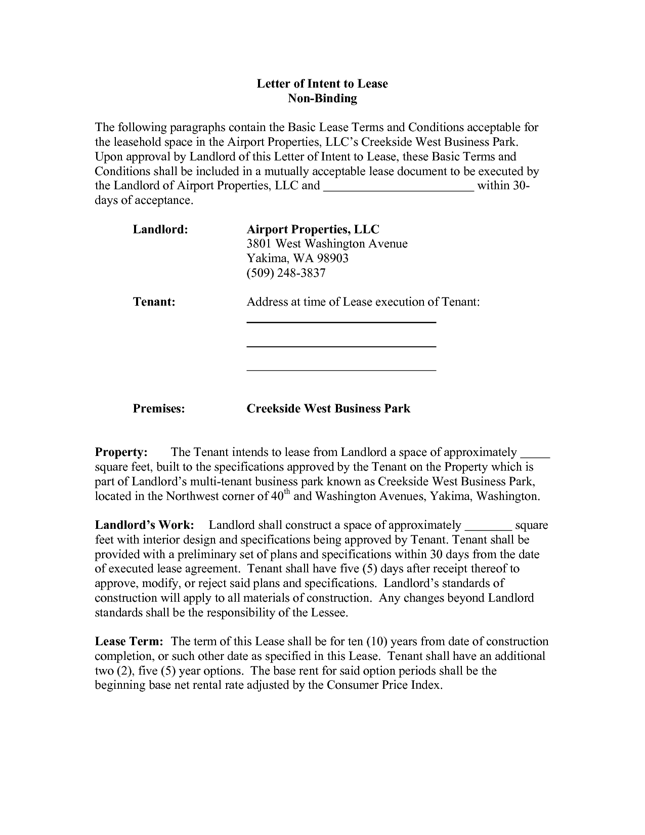 Commercial Real Estate Lease Letter Of Intent Template - Real Estate Lease Letter Intent Sample Mercial Purchase